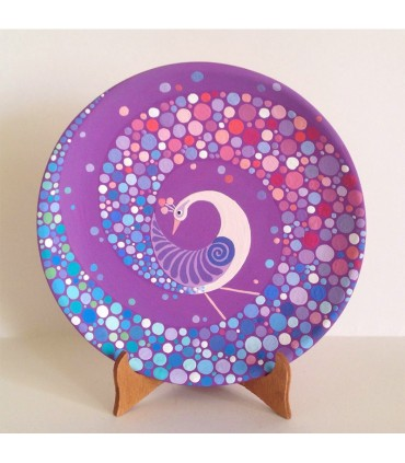 Handmade Mandalar Plate Purple Peacock Motif