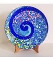 Handmade plate multicolored peacock