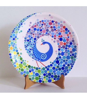 Handmade plate rainbow peacock