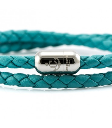 Constantin Maritime Leather Wristband, Turquoise
