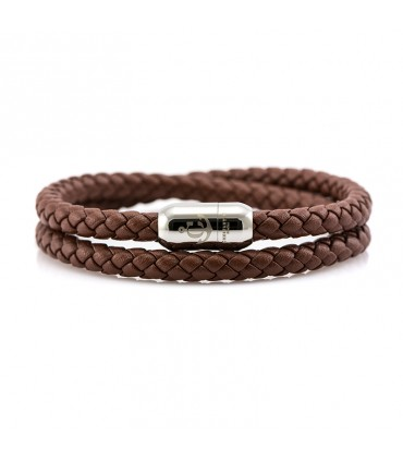 Constantin Maritime Leather Wristband, Brown