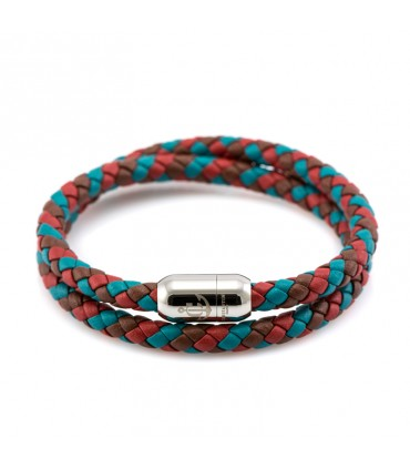 Constantin Maritime Leather Wristband, Turquoise/Brown/Red