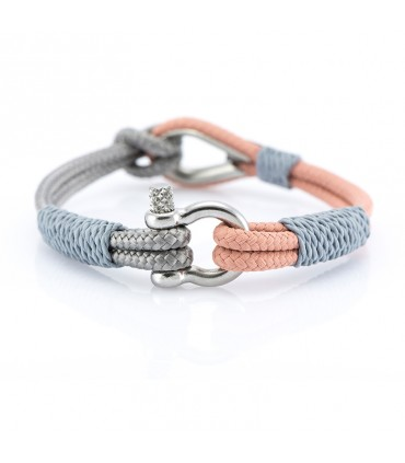 Constantin Maritime Wristband out of Sail Rope, Pink/Grey